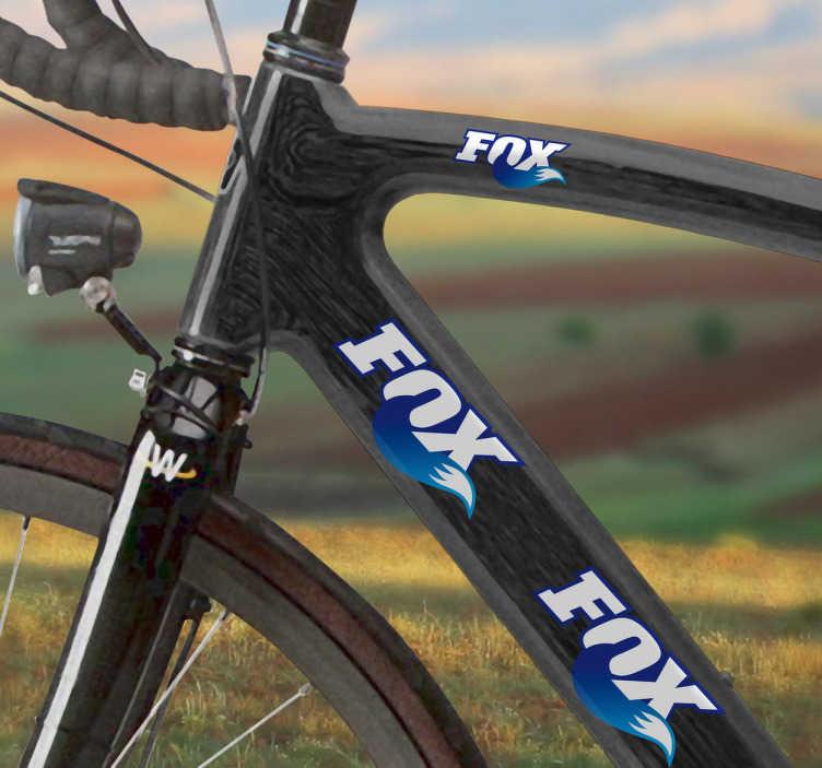 TenVinilo. Vinilo bicicleta logo Fox color. Vinilo color azul con el logotipo de Fox para decorar bicicletas. Adhesivos de gran calidad y resistencia. Marca por excelencia para los practicantes del mountain bike.