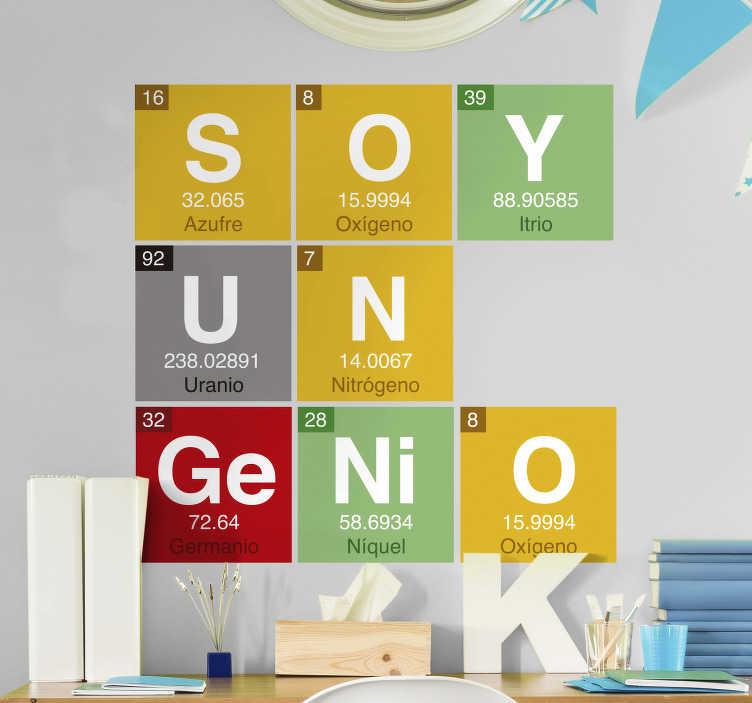"""TenVinilo. Vinilo pared tabla periódica de los elementos. Original vinilo compuesto por algunos elementos de la tabla periódica, los cuales forman la frase """"Soy un genio"""". Fácil aplicación y sin burbujas"""