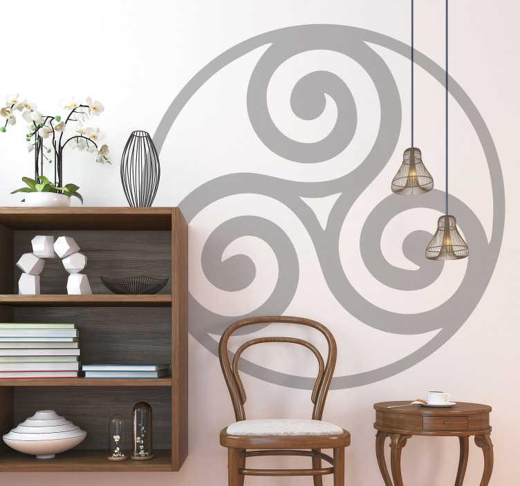 TenVinilo. Vinilo pared trisquel celta. Original vinilo adhesivo monocolor formado por un trisquel celta representado dentro de un esfera. Descuentos para nuevos usuarios.