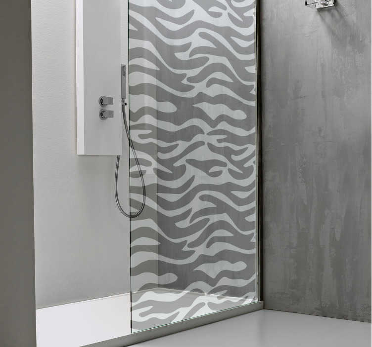 TenStickers. Zebra Print Shower Sticker. Decorate your shower with this stunning translucent design! Sign up for 10% off.