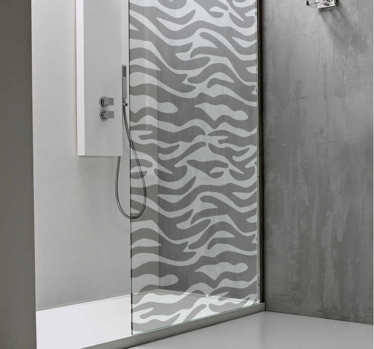 TenStickers. Badkamer sticker douchescherm zebra print. Creëer een nieuwe look in de badkamer met deze zebra print douchecabine sticker. Afmetingen naar eigen wens aan te passen. Express verzending 24/48u.
