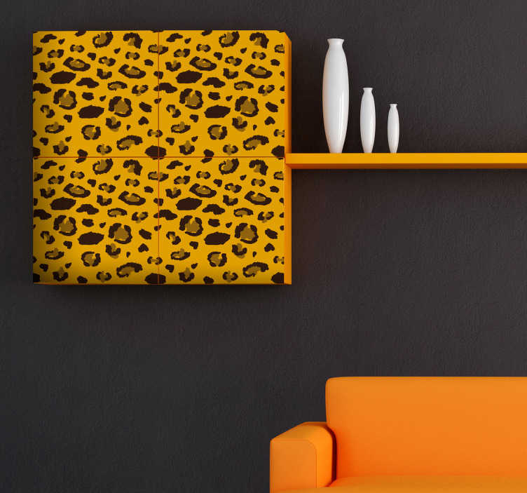 TenStickers. Autocolantes para móveis padrão loepardo. Vinil autocolante decorativo com padrão de leopardo para decorar a sua casa. Mais um da nossa variada coleção de autocolantes de animais. Escolha o seu preferido e compre.