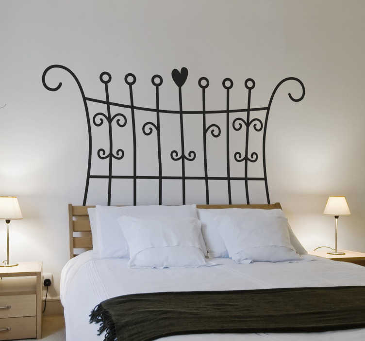 sticker t te de lit filigrane tenstickers. Black Bedroom Furniture Sets. Home Design Ideas