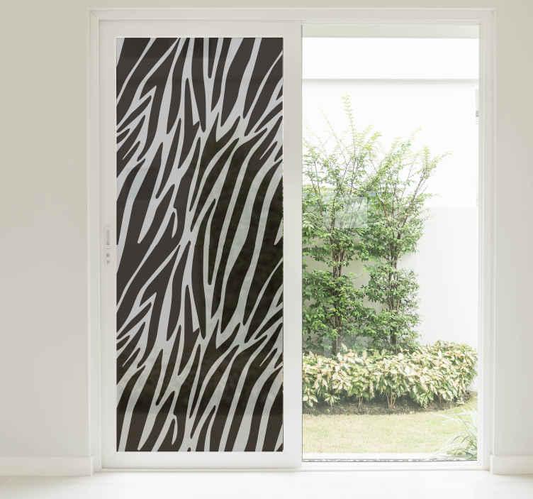 TenStickers. Vitrophanie Zèbre Translucide. Décorez vos vitre en toute simplicité à l'aide de notre vitrophanie autocollante de revêtement de zebre translucide pour guarder votre intimité dans votre maison. Service Client Rapide.