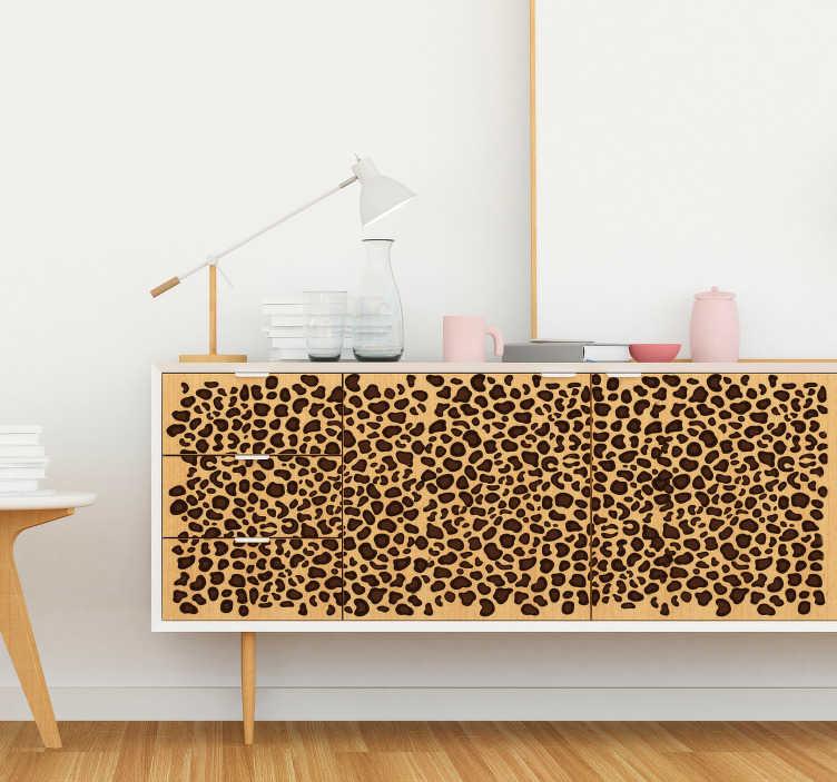 TenStickers. Meubelsticker luipaard print. Luipaard print decoratie sticker, ideaal voor de dieren gerelateerde interieurs! Verkrijgbaar in verschillende afmetingen. +10.000 tevreden klanten.