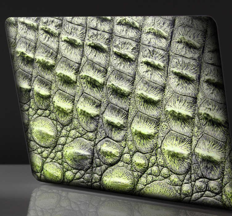 TenStickers. Krokodýlí kůže laptop nálepka. Přidejte do svého laptopu nějakou krokodýlovou kůži s touto fantastickou samolepkou na notebook! Nulový zbytek po odstranění.