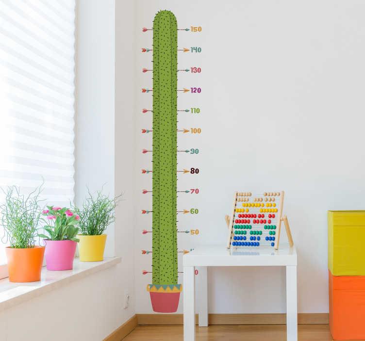 Tenstickers. Kaktus höjd diagram vägg klistermärke. Mäta dina barn när som helst med denna tillväxtplattformens väggmallar med designen av en kaktus. Perfekt att placera i barnrummet.