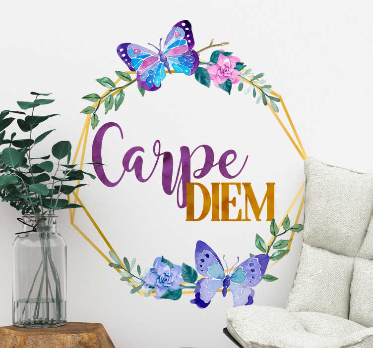 TENSTICKERS. 花のリビングルームの壁の装飾とcarpe diem. 今を楽しめ!このモチベーションステッカーをあなたの家のどの部屋にも置いてください。異なるサイズで利用可能です。窓や車のためにも。