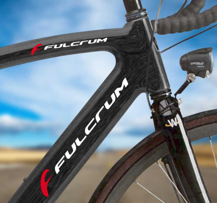 TenVinilo. Vinilo bicicleta logo Fulcrum color. Kit de pegatinas con el logo de Fulcrum en colores blanco y rojo para el cuadro de la bicicleta. Ideal para los deportistas que les gusta el mundo de la mountain bike.Adhesivos de gran calidad y resistencia. Indícanos en observaciones la combinación de colores que mejor te vaya.