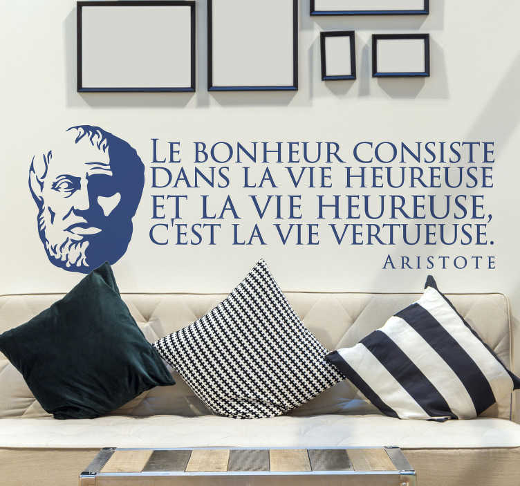 TenStickers. Aristotle Happiness Quote motivational wall decal. Famous character quote wall decal inspired by Aristotle for home decoration. Available in different colours and size options.
