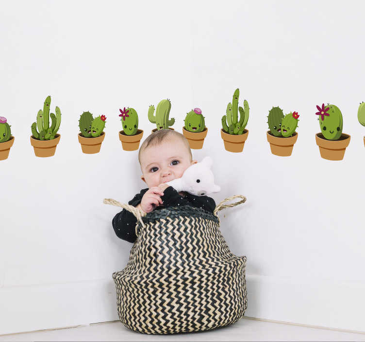 TenStickers. Kinderkamer muursticker cactus collectie. Breng de kinderkamer tot leven met deze cactussen behangrand sticker. Beschikbaar in verschillende afmetingen. 10% korting bij inschrijving.