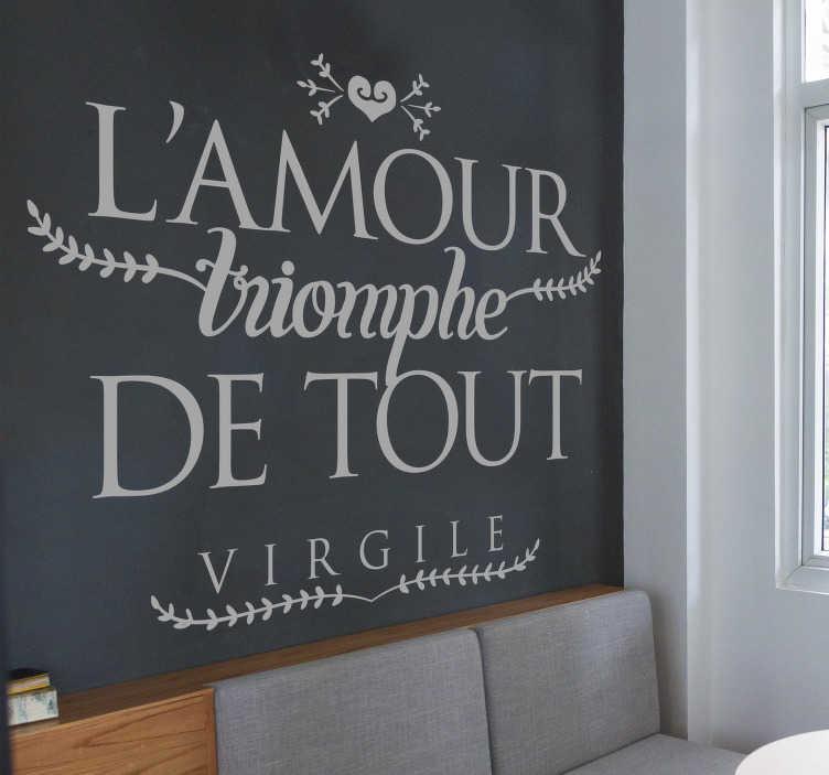TenStickers. Sticker Mural Phrase Amour Virgile. Profitez de l'occasion pour décorer votre salon ou chambre à coucher avec notre sticker phrase amour de Virgile le grand poète pour votre intérieur. Prix Imbattables.