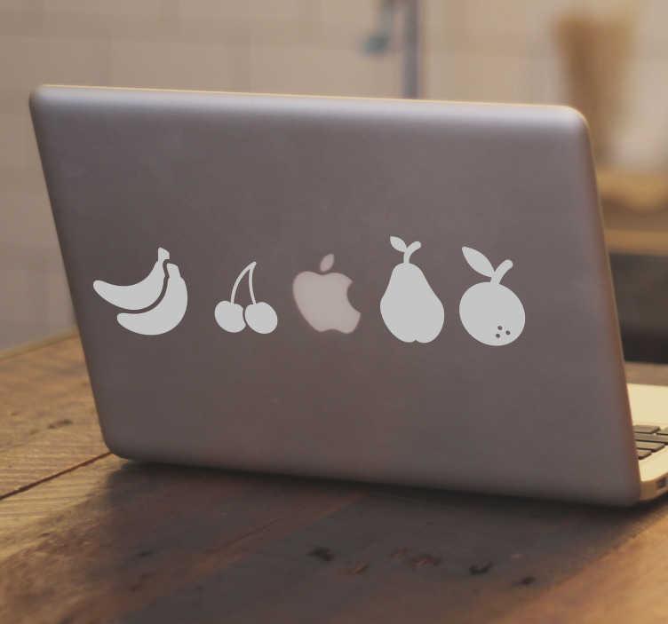 TenStickers. Naklejka na MacBook różne owoce. Naklejka na Macbook'a, przedstawiająca serię różnych owoców, co w połączeniu z jabłuszkiem, logiem firmy Apple, daje oryginalny i nowoczesny efekt! Nasi graficy pomogą Ci z projektem!
