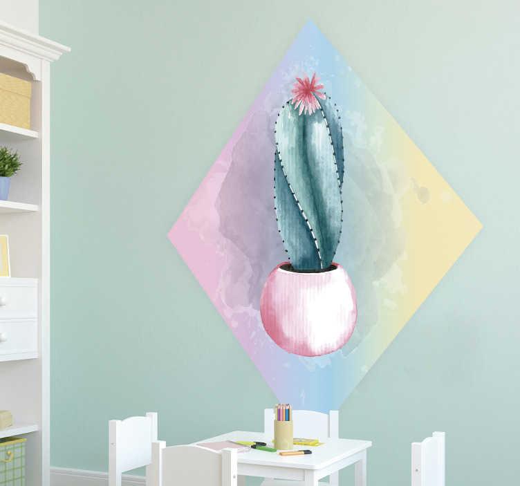 TenVinilo. Vinilo pared cactus acuarela. Vinilo con colores pasteles y diseño de acuarelas, formado por un cactus representado en el interior de un rombo. Compra Online Segura y Garantizada
