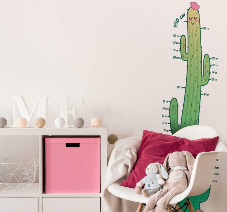 TenStickers. Kinderkamer muursticker cactus groeimeter. De groei van uw kind bijhouden en tegelijkertijd de kinderkamer decoreren is nu mogelijk met deze cactus groeimeter sticker. Ervaren ontwerpteam.