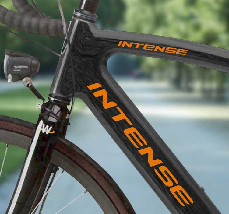 TenVinilo. Vinilo bicicleta logo Intense. Logotipo de Intense en 2 tamaños de pegatinas realizables en el color que prefieras para poner en el cuadro de tu bicicleta.Escoge el color que mejor te convenga que obtener el mayor contraste en estos adhesivos de gran calidad y resistencia.
