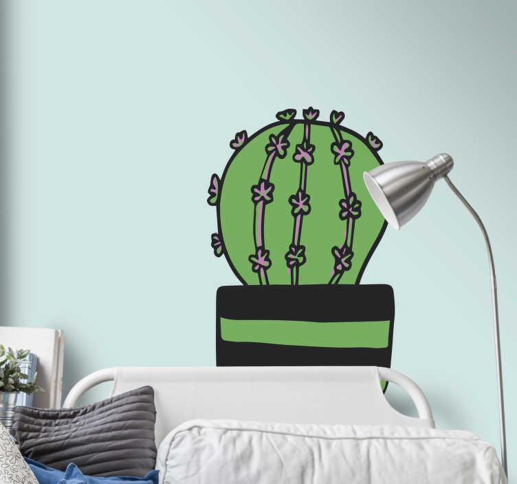 TenVinilo. Vinilo pared cactus dibujo. Original vinilo para habitación infantil o juvenil formado por el dibujo de un cactus en colores verde, negro y rosa. +50 Colores Disponibles.