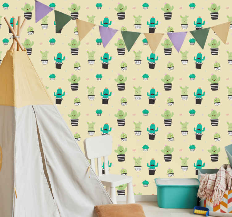 TenStickers. Cacti Wallpaper Sticker. Decorate your wall with this superb sticker! Discounts available.