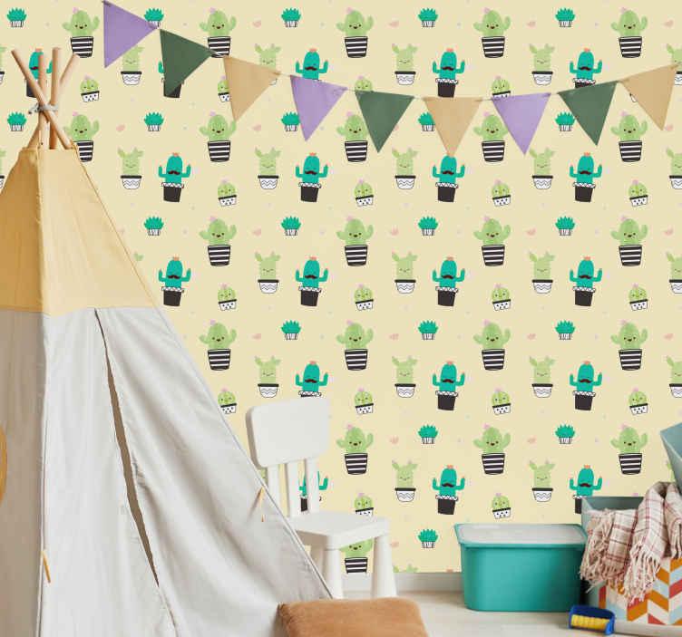 TenVinilo. Vinilo pared cactus dibujo patrón. Original lámina adhesiva formada por un patrón de cactus sobre fondo amarillo pastel ideal para renovar toda tu estancia. Precios imbatibles.
