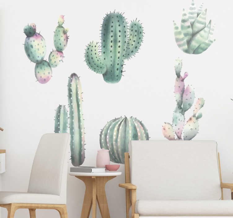 TenVinilo. Vinilo pared cactus estilo nórdico. Fantásticas pegatinas adhesivas para salón con diferentes estilos de cactus en tonos pastel. +10.000 Opiniones satisfactorias.