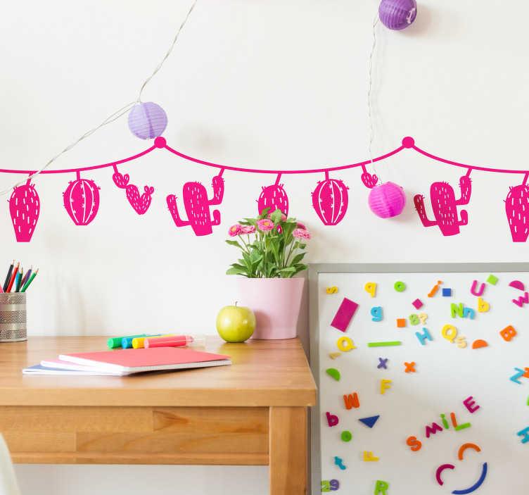 TenStickers. Sticker Plante Motif Monochrome de Cactus. Décorez la chambre de votre enfant de manière originale grâce à notre sticker mural plante de cactus qui pendent à une corde pour embellir sa chambre. Application Facile.