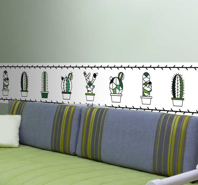 TenStickers. Mini Cacti Wall Border Sticker. Decorate your home with this fantastic wall border sticker! Choose your size.