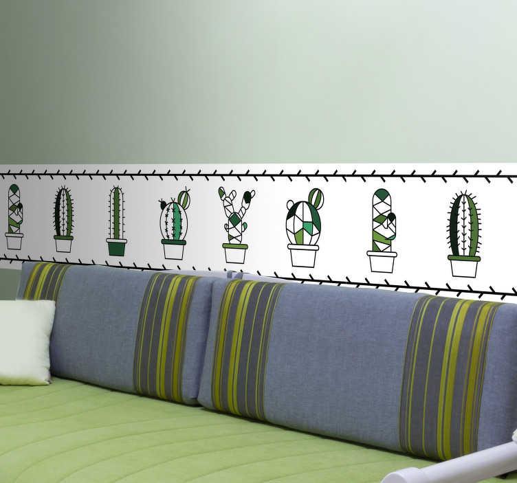 TenVinilo. Vinilo para pared mini cactus. Cenefa de color blanco con varios diseños de cactus en su interior , ideal para la decoración de salones. Vinilos Personalizados a medida