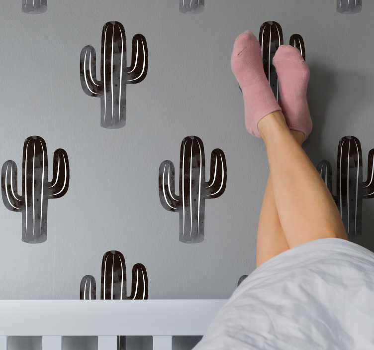 TenStickers. Black and White Cactus Stickers. Add some cacti to your home with this fantastic wall sticker! Sign up for 10% off.