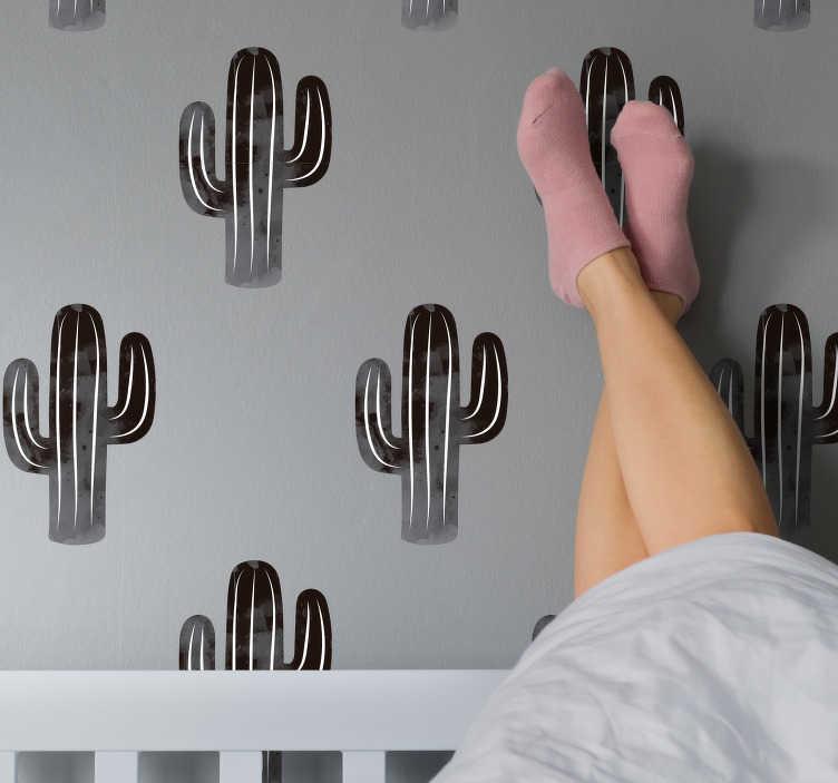 TenVinilo. Vinilo pared patrón cactus negro y blanco. Original lámina adhesiva minimalista con patrón de cactus en tonos blancos y negros ideal para renovar cualquier estancia. +50 Colores Disponibles.