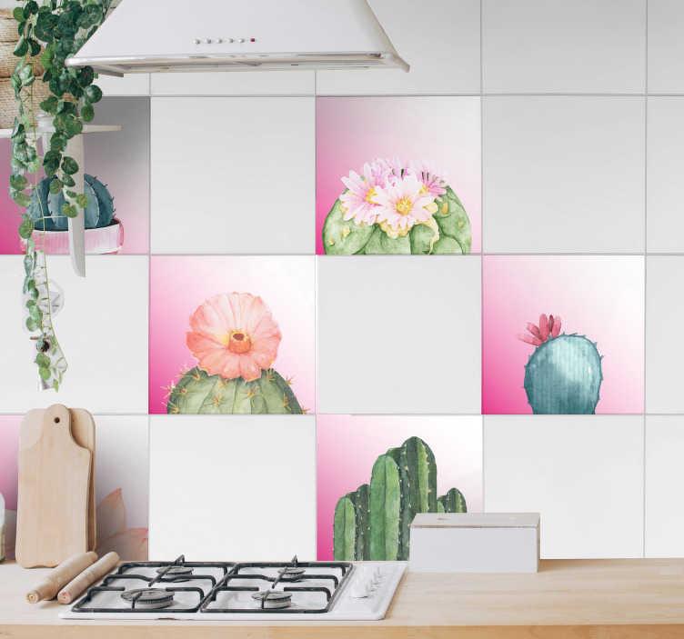 TenStickers. Tegelstickers cactussen op roze achtergrond. Muursticker set met de nieuwste interieur decoratie trend: cactussen! Verkijgbaar in de door u gewenste afmetingen. Ook voor ramen en auto's.