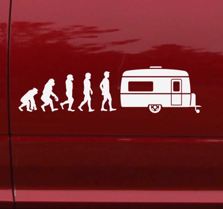 TenStickers. Reis sticker caravan evolutie. Deze sticker geeft de evolutie van de caravan weer. Ideaal voor op de caravan. Verkrijgbaar in verschillende kleuren en maten. Voordelig personaliseren.