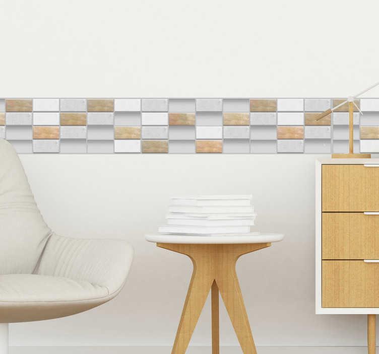 TenVinilo. Cenefa adhesiva azulejos de piedra. Original cenefa adhesiva de azulejos para salón o baño con textura de piedra en tonos grises y marrones. Descuentos para nuevos usuarios.