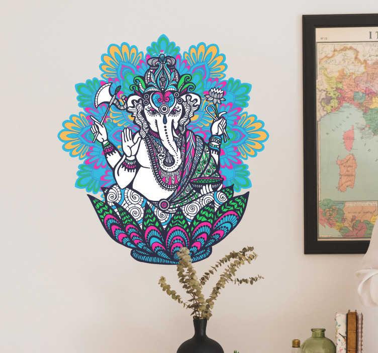 TenStickers. Elefant hindu model colorat desen desen animat. Acest autocolant minunat de perete de elefant este soluția perfectă dacă doriți să dați o anumită viață și varietate camerei specifice casei dvs.