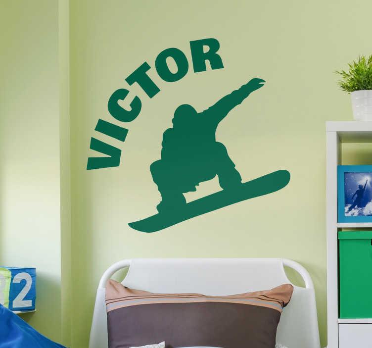 TenStickers. Silhouette sticker snowboard. Decoreer de tienerkamer met deze sticker met het silhouet van een jongen op een snowboard. Naam op de sticker is aan te passen. Voordelig personaliseren.