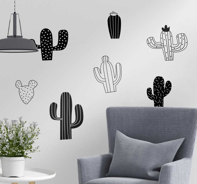 TenStickers. Black and White Cacti Wall Stickers. Decorate your home with cacti, thanks to this fantastically original wall sticker! Zero residue upon removal.