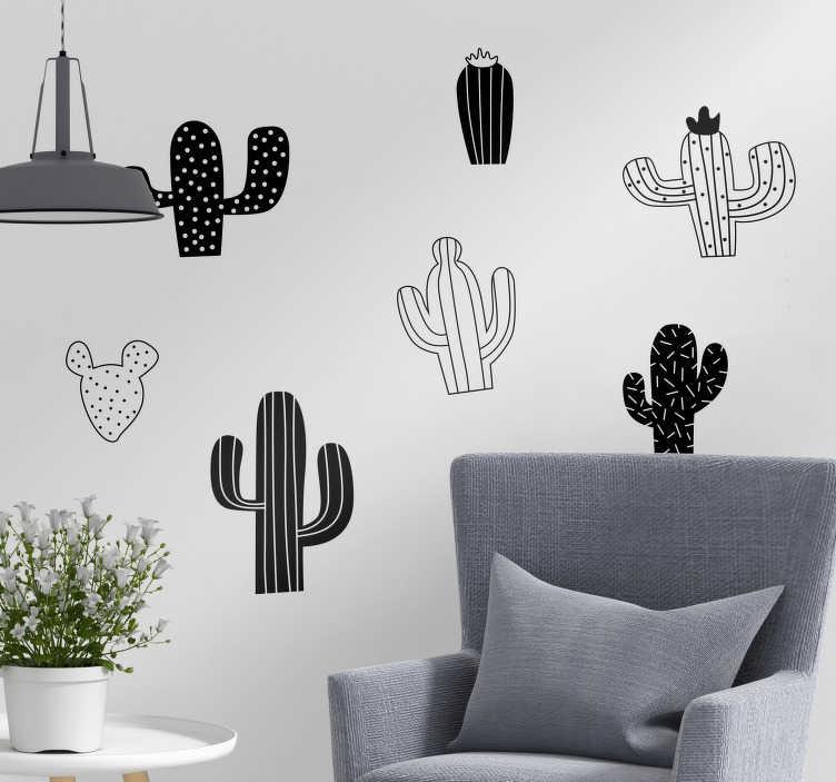 TenStickers. Slaapkamer muursticker cactus zwart wit. Decoreer uw woning met deze zwart witte cactussen muursticker. Verkrijgbaar in verschillende afmetingen. Express verzending 24/48u.