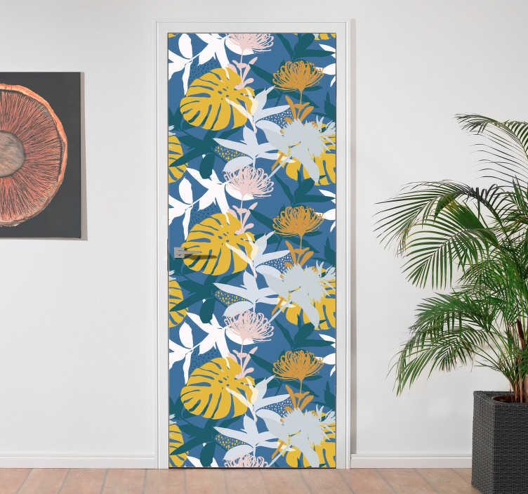 TenStickers. Deursticker florale decoratie. Creëer een geheel nieuwe look in uw woning met deze florale deurdecoratie sticker. Verkrijgbaar in verschillende maten. +10.000 tevreden klanten.