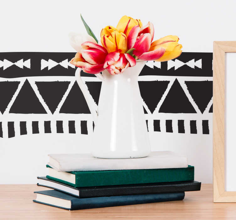 TenStickers. ацтеки бордюрный узор гостиная декор стены. Эта замечательная наклейка на стену с красивым ацтекским рисунком - идеальное украшение для любимой комнаты дома.