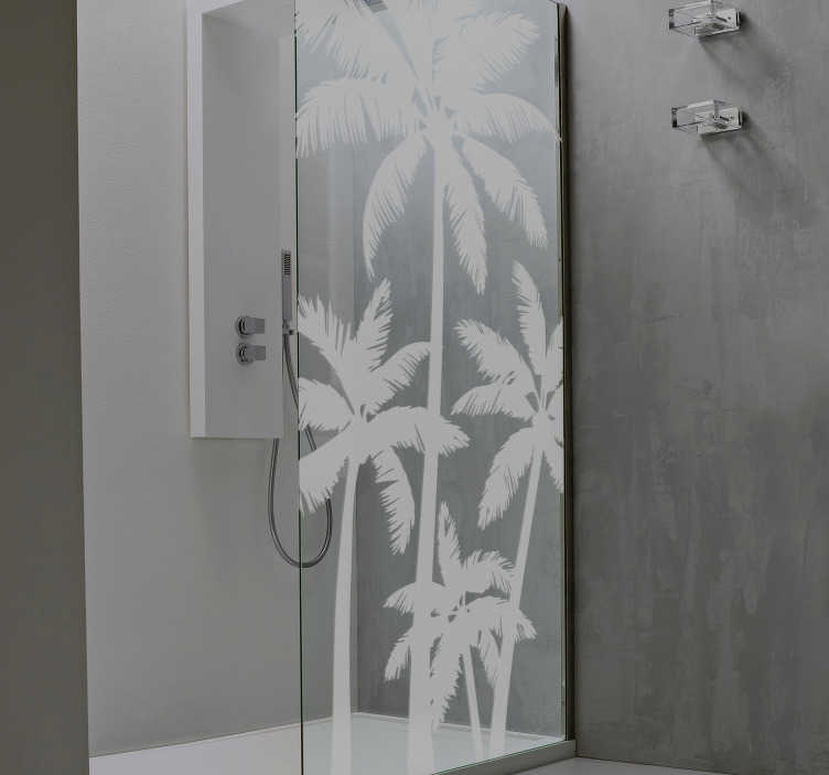 TenStickers. Palm Trees Translucent Shower Sticker. Turn your bathroom into an exotic paradise with this fantastic translucent shower decal! Anti-bubble vinyl.