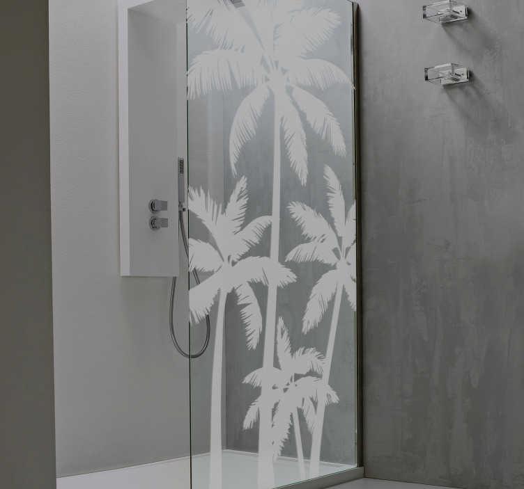 TenStickers. Palmbomen sticker douchescherm. Creëer een tropische sfeer in uw badkamer met deze palmbomen sticker voor op de douchewand. Afmetingen aanpasbaar. Ook voor ramen en auto's.