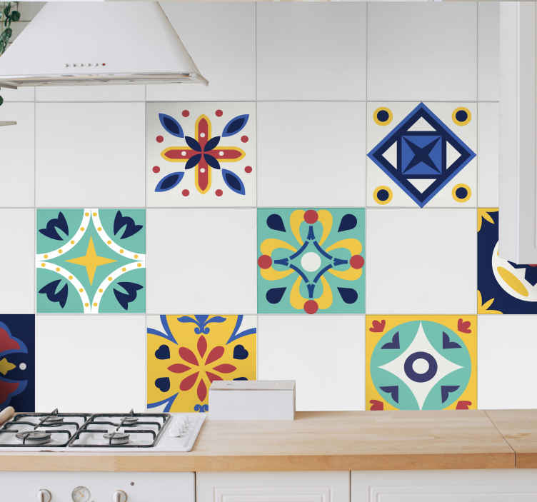 TenStickers. Kitchen Tile Patterns Wall Sticker. Decorate your kitchen using this fantastically affordable set of kitchen tile stickers! Available in 50 colours.