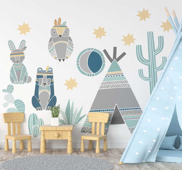 TenStickers. Autocolantes de ilustrações animais e indios. Autocolante decorativo com desenhos de animais selvagens com cores pasteis. Ideal para decorar os quartos dos mais pequenos.