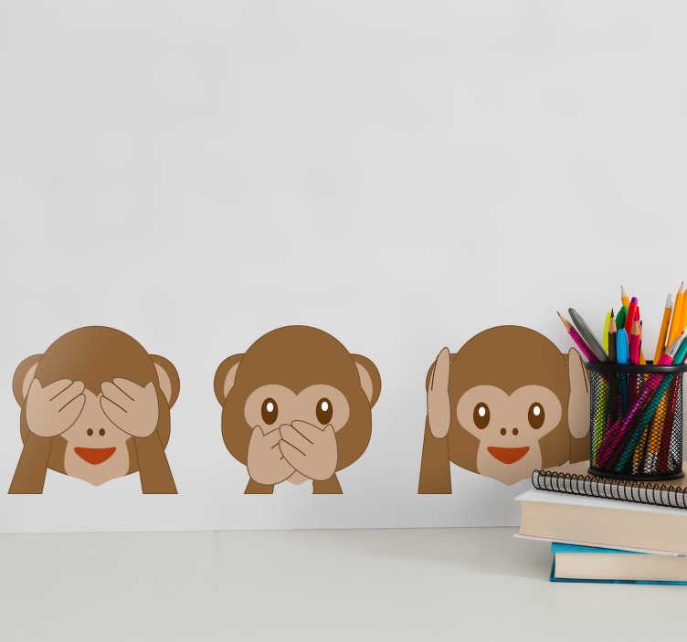 TenStickers. Kinderkamer muursticker apen emojis. Muursticker van drie apen emoji's. De eerste aap bedekt zijn ogen, de tweede zijn mond en de laatste zijn oren. Eenvoudig aan te brengen.