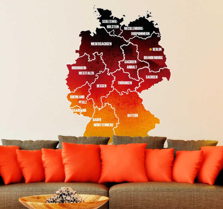 TenStickers. Wandtattoo Jugendzimmer Karte Bundesländer. Super Aufkleber mit der Beschriftung von den deutschen Bundesländern und die Karte als Deutschlandflagge, schwarz, rot, gold.