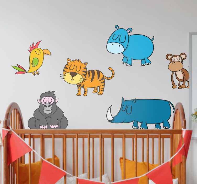 TenStickers. Autocolantes animais animais a dormir. Autocolantes decorativos com animais selvagens a dormir para decorar as paredes dos quartos mais pequenos.