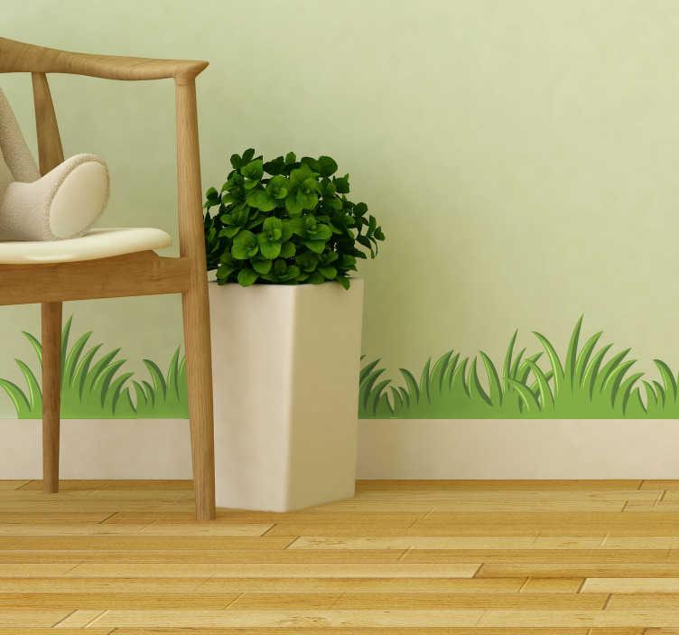 Tenstickers. Gräs gränsen väggmålning klistermärke. Ge det föredragna rummet i ditt hem en väldigt individuell och alternativ atmosfär genom att tillämpa denna fantastiska gräsmatta konstklistermärke.
