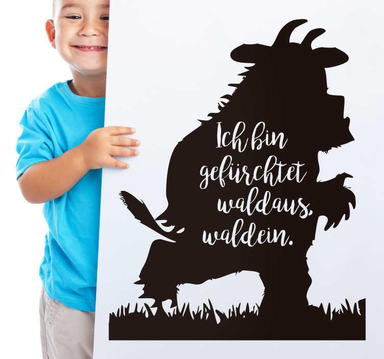 TenStickers. Text Aufkleber Grüffelo Silhouette. Der Grüffelo ist unter Kinder bekannt. Dieser Wandsticker zeigt eine Silhouette vom Grüffelo, die Sie auch bemalen können.