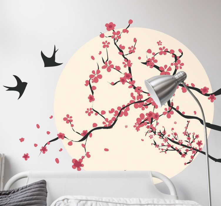 TenStickers. Sticker Maison Cerisier et Oiseaux. Décorez une des pièces de votre maison comme votre salon ou chambre à coucher avec notre sticker mural de pleine lune avec ces branches rosées et ces deux oiseaux. Livraison Rapide.