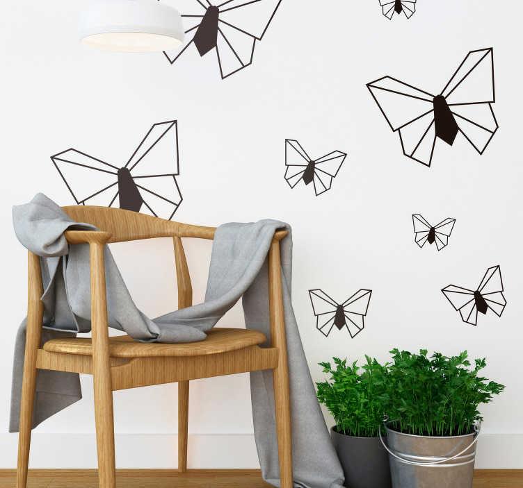 TenStickers. Slaapkamer muursticker origami vlinders. Onderscheidt uw woning van anderen met deze decoratie sticker met origami vlinders. Verkrijgbaar in verschillende afmetingen. Express verzending 24/48u.