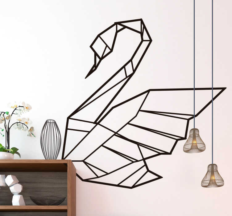 TenStickers. Origami Swan Wall Sticker. Bring the grace of the swan into your home with this fantastic origami themed wall sticker! Extremely long-lasting material.